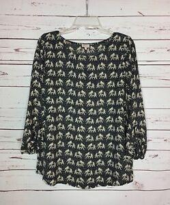 Pixley Stitch Fix Women's L Large Black Elephant Long Sleeve Spring Top Blouse