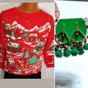 Vtg 80s Ugly Christmas Sweater Sweatshirt Red Puff Screen Print