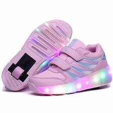 UBELLA Kids Girls Boys LED Light Up Shoes Double Wheels Roller Skate Sneakers Black White
