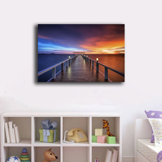Beach Side Wharf Stretched Canvas Print Framed Wall Art Home Decor Painting X