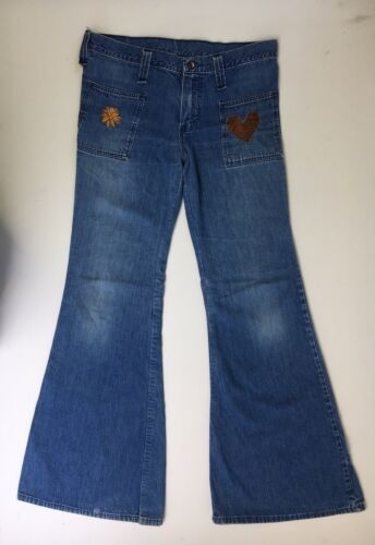 Wrangler Bell Bottoms Jeans Denim 70s DIY Floral S