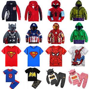 Kids-Toddler-Boys-Superhero-Hoodie-Coat-Sweatshirt-T-Shirt-2Pcs-Outfit-Clothes
