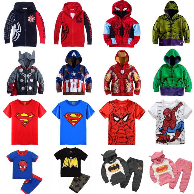Kids Boys Girl Superhero Hoodie Coat Sweatshirt T-Shirt 2Pcs Clothes Outfits Set