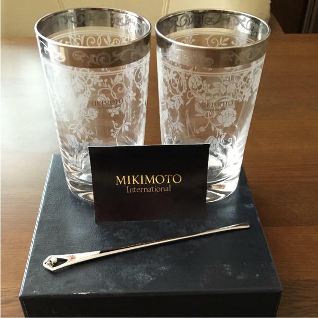 Mikimoto Pearl X Platinum margoulin & Verre Set de Japon nouvelle F S