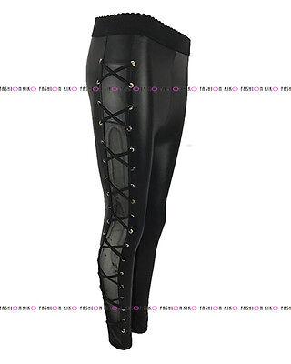 Femme femmes brillant pu wet look maille insert dentelle skinny stretch leggings