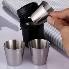 4x Edelstahl 35ml Becher Trinkbecher Tasse mit Leder Tasche für Kaffee Bier Set