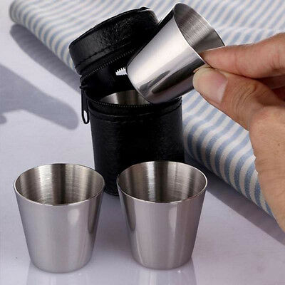 10Pcs Portable Stainless Steel Wine Drinking Shot Glasses Barware Cup  35ml