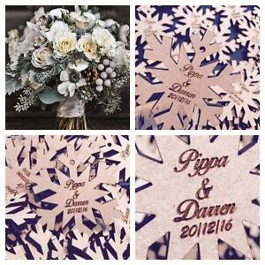 Rustic Beautiful winter wedding idea 80 x snowflakes / personalised table decor