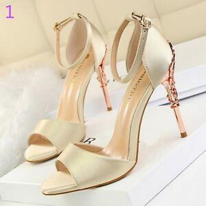6272f67a0b71c Caricamento dell immagine in corso sandali-donna-10-cm-eleganti-stiletto- gioiello-panna-