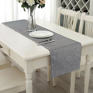 Black And White Striped Table Runner 14 X 72 Cotton Linen Wedding