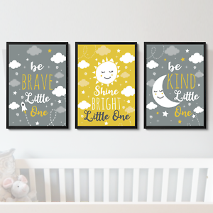 Details About Nursery Prints Grey Yellow Baby Boy S Room Decor Pictures