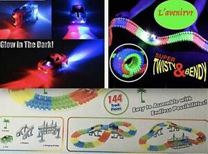 Glow-in-The-Dark-Race-Flexible-Tracks-Set-with-Electric-Car-144-Pieces-with-Lig