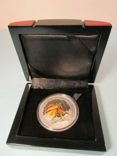2013 Tuvalu REMARKABLE REPTILES Frilled Neck Lizard 1oz SILVER PROOF COIN