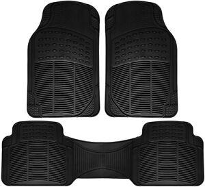 Car-Floor-Mats-for-All-Weather-Rubber-3pc-Set-Semi-Custom-Fit-Heavy-Duty-Black