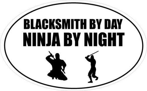 20cm x 12cm BLACKSMITH BY DAY NINJA BY NIGHT OVAL SHAPE VINYL STICKER