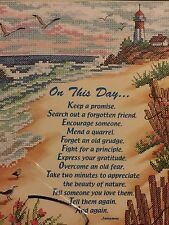 """Sunset @ Beach Poem NEW in bag Cross Stitch Kit:ON THIS DAY""""  Dimension INSPIRE"""