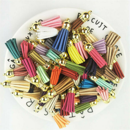 30Pcs Charms Suede Leather Tassel For Keychain Pendant Jewelry DIY Crafts Set H7