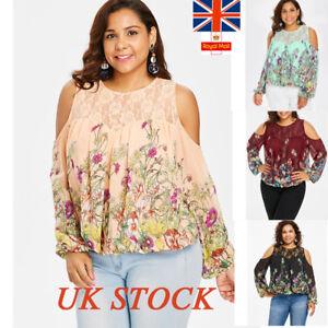 276604d38960d6 UK Womens Hollow Plus Size Cold Shoulder Blouse Ladies Floral Print ...