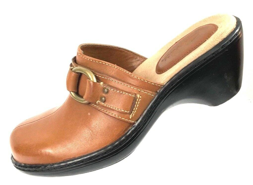 8e03f1c87fc02 Clarks Women's Brown Leather Heels Size 6.5M Slide shoes nofyri3374 ...