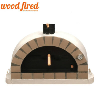 Generous Brick Outdoor Wood Fired Pizza Oven 100cm Grey Pro-italian Cream Brick Meticulous Dyeing Processes Barbecues, Grills & Smokers
