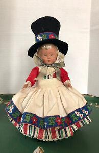 Vtg-CELLULOID-DOLL-Dutch-German-Swedish-Doll-Top-Hat-JK-Brand-String-Quality-EUC