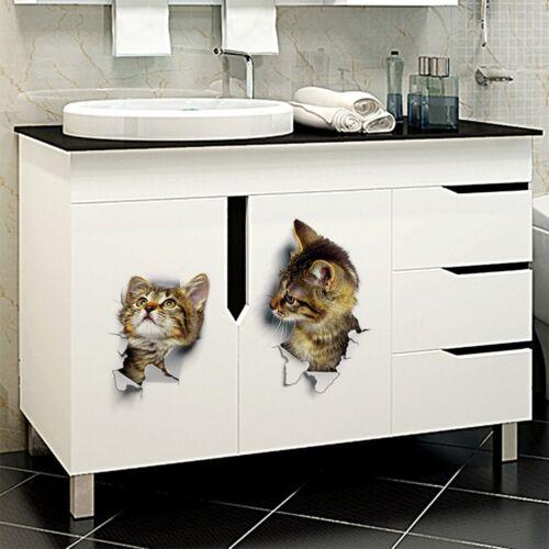 Wall Stickers Vinyl Cute 3D Kitten Cat Bedroom Fridge Decal Home Art Decor sm