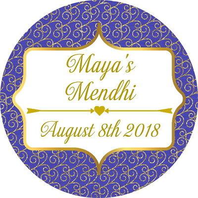 Personalised Gloss Mehndi Mendhi Nikkah Le Etichette, Adesivi Di Ringraziamento Blu/oro-