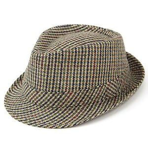 82f79950a Details about Tweed Trilby Hat Fedora Hawkins BROWN 5 Sizes Country Classic