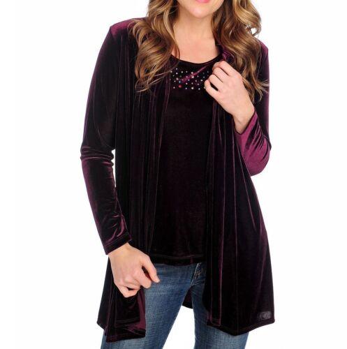 Glitterscape Women/'s Velvet Embellished Detail Cardigan Plus Size 1X  3X