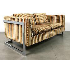 Vintage Milo Baughman Chrome Floating Settee Loveseat Sofa Mid Century Modern