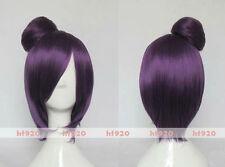 NARUTO Konan Purple Anime Cosplay Costume Wig + 1 bun + free wig cap + Track