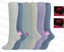 6 Pairs Ladies Long Knitted Wool Boot Socks Womens Adults Walking Hiking