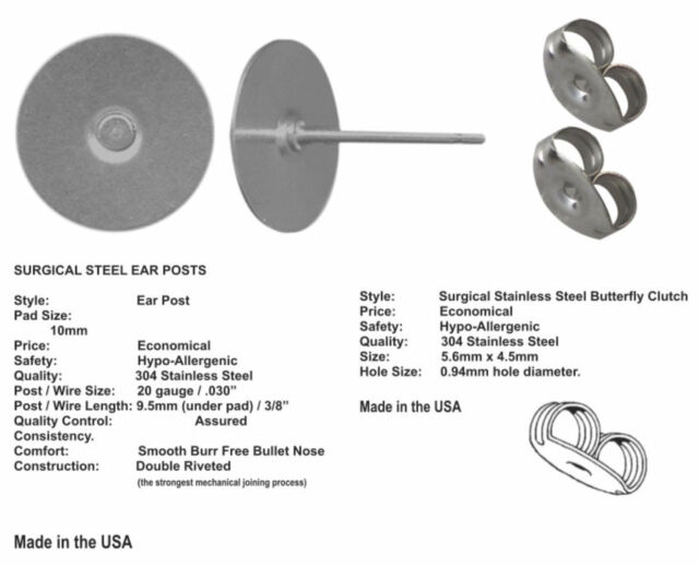 720 Stainless Steel Stud Earring Posts 6mm Pad /& Clutch Hypo-Allergenic USA Made