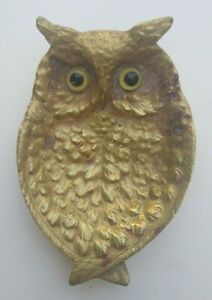 Vintage-Solid-Brass-Owl-Ashtray-Coin-Trinket-Dish-Footed