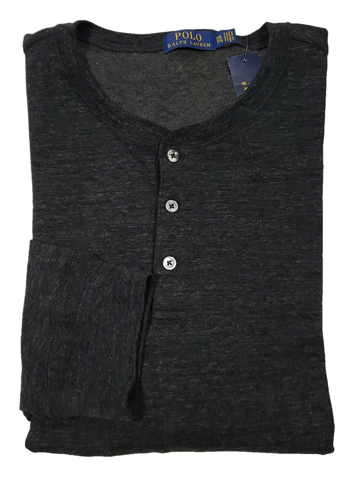 Polo Ralph Lauren Men's Marl Grey Duo-Fold Long Sleeve Henley Shirt