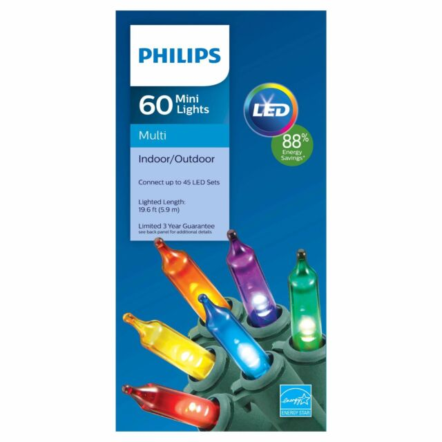 MULTI 60 count MINI LIGHTS LED Christmas PHILIPS 20 feet Green Wire NEW - Philips LED Mini Chirstmas Lights String Multicolor 60 Count B5