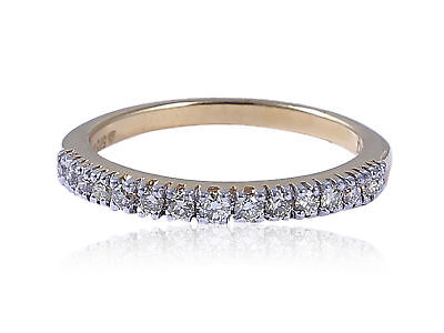 0.40 Cts Round Brilliant Cut Natural Diamonds Anniversary Ring In Solid 14K Gold