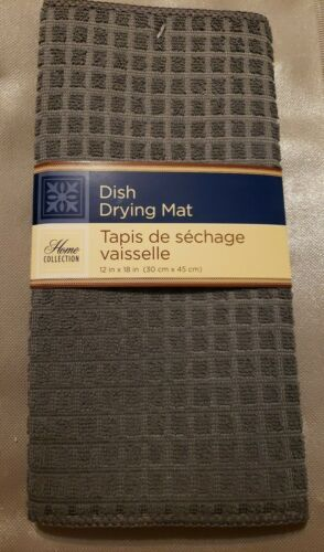 """Grey Microfiber Dish Drying Mat 12/"""" x 18/"""" Absorbent Home Collection.Red,Black"""