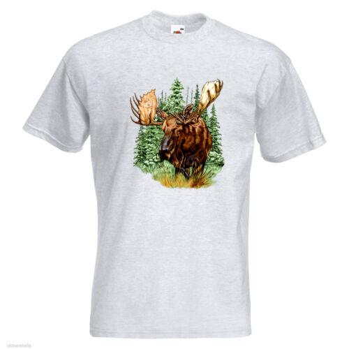 Moose Wildlife Mens PRINTED T-SHIRT Animals Forest Animal