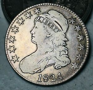 1824 Capped Bust Half Dollar 50C High Grade O-111 Good 90% Silver US Coin CC6294