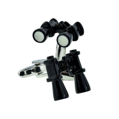 Rhodium Plated Binoculars Design Cufflinks Presented in a Box X2AJ346