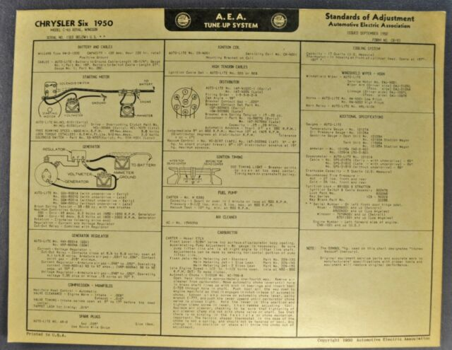 1950 Chrysler Six Tune Up Chart Wiring Diagram Royal Windsor Nice Original 50