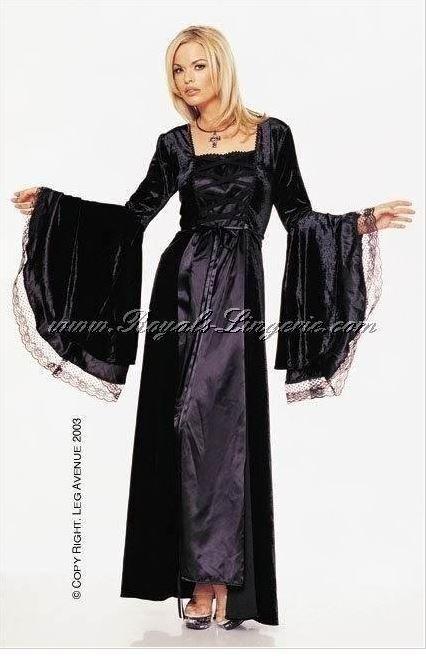HALLOWEEN LEG AVENUE BLACK VELVET & LACE GOTHIC VAMPIRESS COSTUME UK 12-14