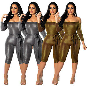 dcb691b38b4 Details about Women s Sexy Sparkle Glam Sequin Jumpsuit for Night Club  Party Fashion Slim ZG8