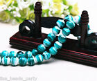 10pcs 12mm Round Lampwork Glass Charms Loose Spacer Stripes Beads Lake Blue