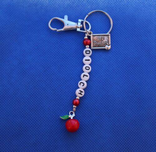 Professeur Gallois merci//diolch Porte-clés Red Apple #1 enseignant//Tutor laissant Cadeau