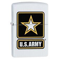 Zippo 29389 US Army Logo White Matte Finish Full Size Lighter