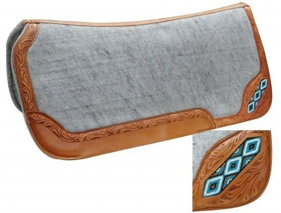 Showman 32 x32  Saddle Pad w  TEAL Beaded Inlay & Leather Trim  NEW HORSE TACK