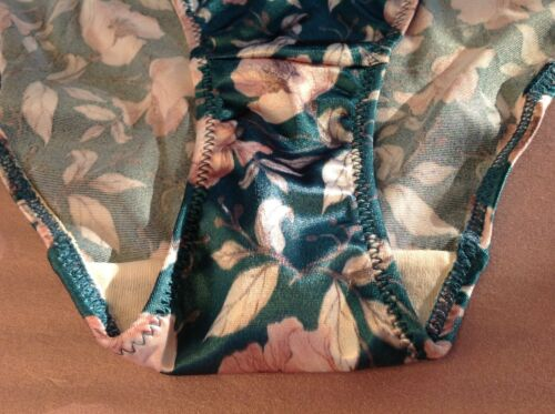 Women Panties Bikinis ILUSION Size XL Green Satin Floral Look W//Decoration