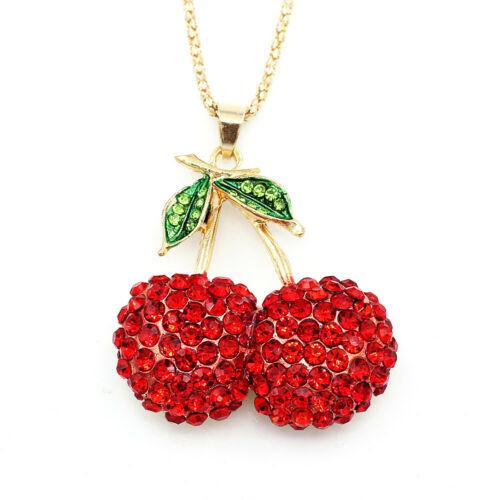 Betsey Johnson Rouge Cristal Cerise Fruit Pendentif Chandail Chaîne Collier Cadeau
